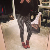 pants,celebrity,striped leggings