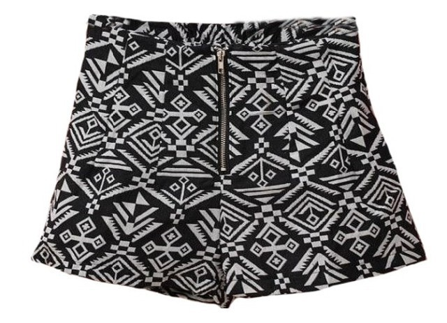 with belt Free Ship2013 autumn sumuer female slim zipper fluid high waist geometry aztec print shorts boot cut jeans short pants-inShorts from Apparel & Accessories on Aliexpress.com