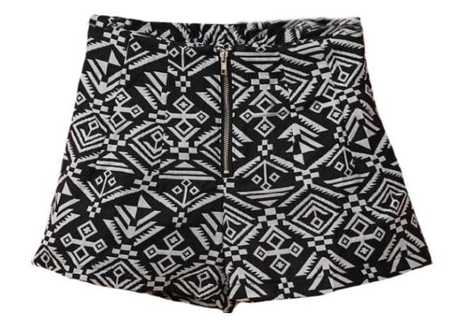 with belt Free Ship2013 autumn sumuer female slim zipper fluid high waist geometry aztec print shorts boot cut jeans short pants-inShorts from Apparel & Accessories on Aliexpress.com