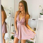 dress,short muave dress,short homecoming dress,lavender dress,pink dress satin flowy cheap