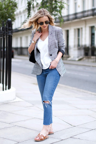 jacket plaid plaid blazer t-shirt white t-shirt denim jeans blue jeans ripped jeans shoes slide shoes sunglasses fall outfits