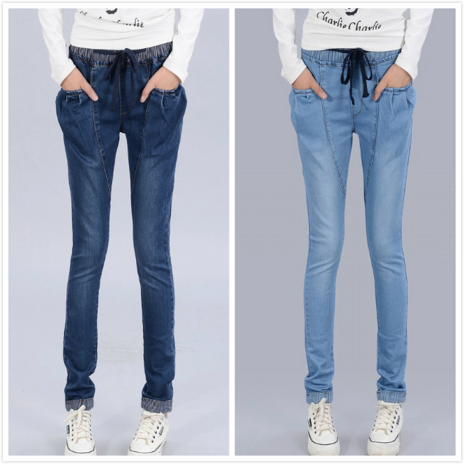 Exclusive!2014 new women casual drawstring harem denim straight pants long full jeans with elastic waist slim trousers plus size-in Pants & Capris from Apparel & Accessories on Aliexpress.com