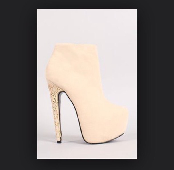 shoes booties heels creambooties