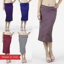 New Women Striped Color Straight Sexy Knit Slim Fitted Pencil Skirt Made is USA