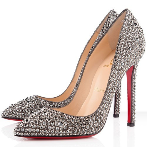Fashion Christian Louboutin Pigalle 120mm Strass Pumps Hematite With Free Shipping