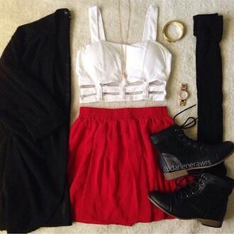 top red skirt cute spring white bralette