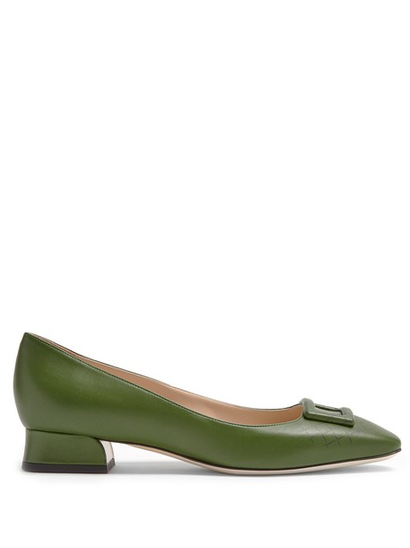 Bottega Veneta pumps leather print dark green shoes