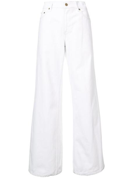 Oscar de la Renta - wide-leg jeans - women - Cotton - 10, White, Cotton