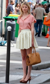clemence poesy,pink blouse,blouse