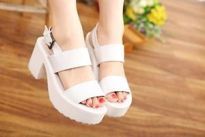 Sexy Women's Punk Chunky Heels High Platform Peep Toe Buckle Strap Sandals Shoes | eBay