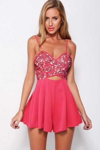 romper sexy wots-hot-right-now cut-out clubwear coral