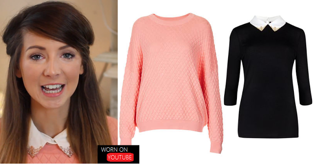 Worn on Youtube: Zoella: Quilted Jumper and Collar Tip Blouse from August Favourites