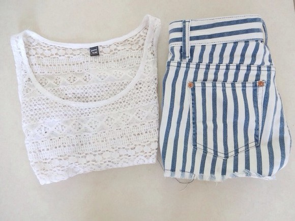 tank top shirt lace white singlet shorts blue shorts pants stripes high waisted short pattern