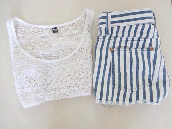 pants stripes blue shorts High waisted shorts shorts pattern lace singlet white tank top shirt