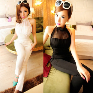 Fashion new designer style club wear sexy perspective high waisted halter neck jumpsuit harem pants trousers jumpsuit women 2013-inPants & Capris from Apparel & Accessories on Aliexpress.com
