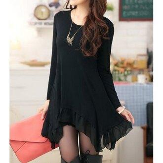 dress black dress black streetwear streetstyle college all black everything oversized sweater cute asian korean fashion