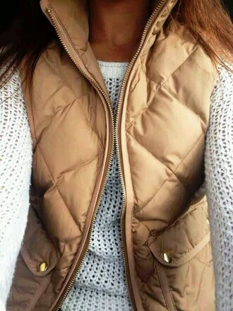 jacket vest top vest tan brown classy winter outfits fall outfits white knit sweater