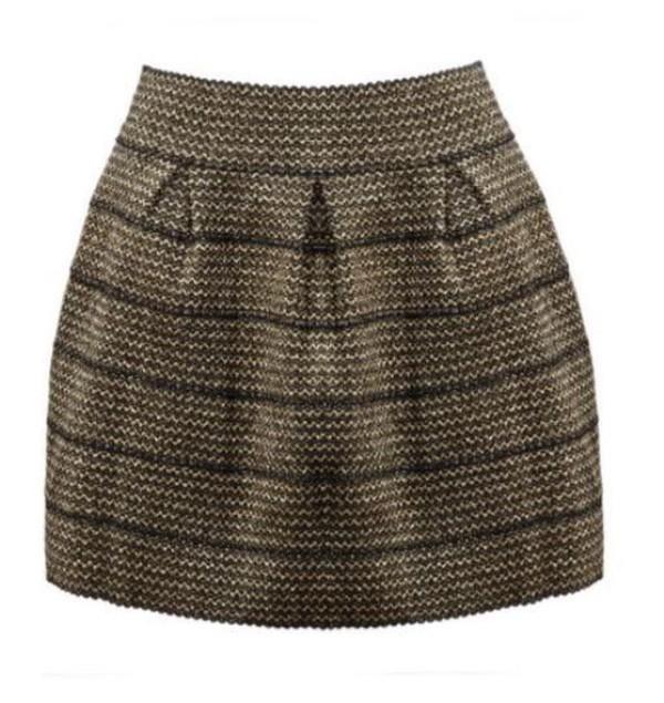 black and gold zipper stripes striped skirt high waist skirt knee length skirt www.ustrendy.com