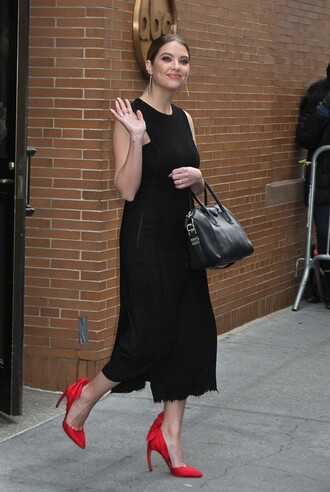 dress midi dress black dress black ashley benson pumps shoes celebrity celebrity style actress red pumps high heel pumps bag givenchy bag givenchy black bag handbag
