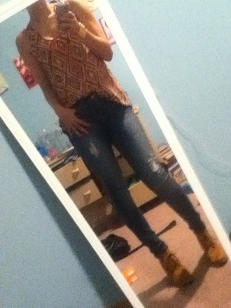 gold blouse orange blouse skinny jeans