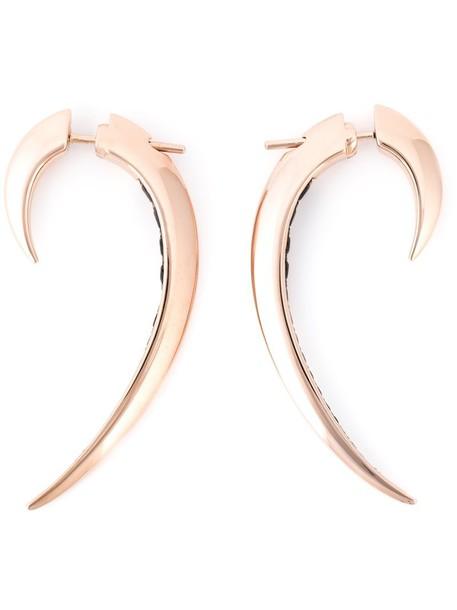 SHAUN LEANE women earrings silver black grey metallic jewels