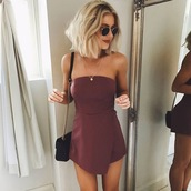 dress,dress burgundy,mini dress,bandaeu dress