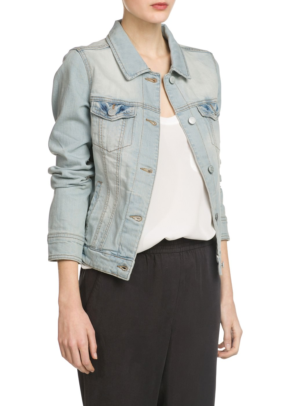 Giubbotto denim bleached -  							Short - 							Donna - 							MANGO