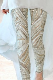 pants,leggings,embellished leggings,glamour,bedazzled,statement,white,studs,boho,gypsy,beaded,embellished,skinny pants,gold,gold sequins,sequins,beige,beige white,tan,sparkle,beaded pants