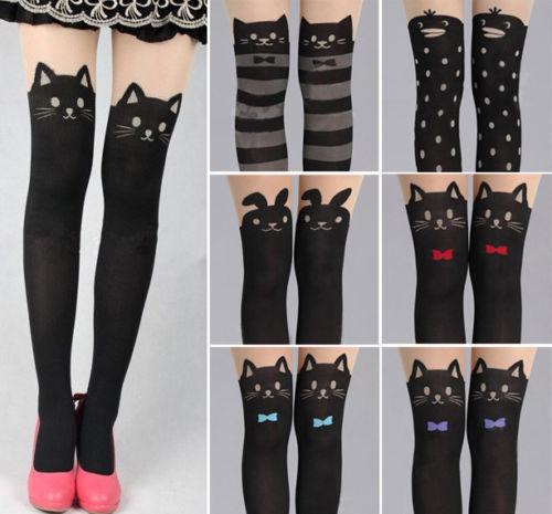 Women cute cat tail kitten knee high tattoo stockings pantyhose leggings adventure time leggings