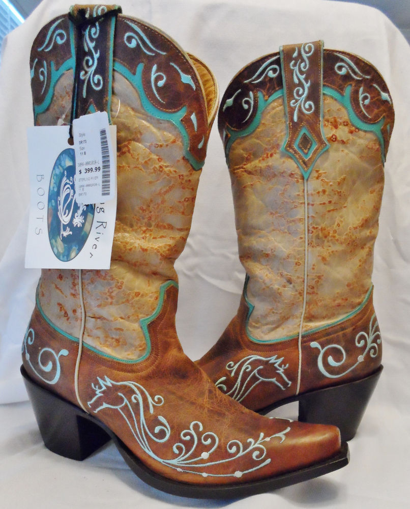 New Sterling River Boots Tan Cowboy Western Shoes Mustang Country 11 41 Leather | eBay