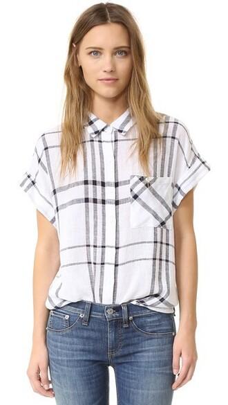 shirt button down shirt plaid navy top