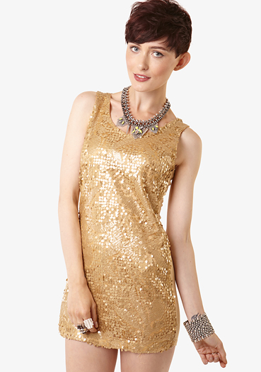 Gold all over sequin tank dress at fashion union