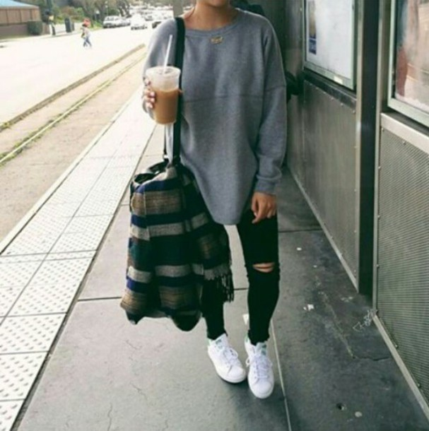 sweater bag ripped jeans backpack adidas shoes shirt grey sweater black skinny jeans shoulder bag white sneakers grey black