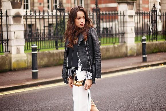 slit skirt blogger bag midi skirt top amoureuse de mode jacket perfecto