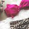 Pink leopard bow padded high waist bikini