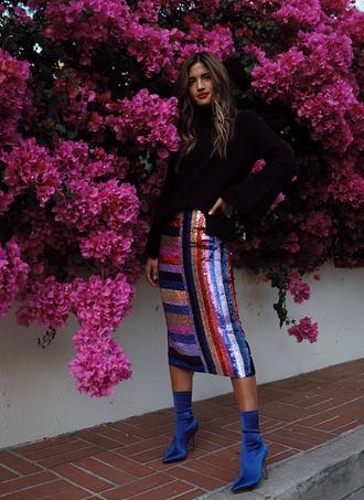 rocky barnes blogger skirt sweater sock boots boots blue boots midi skirt sequin skirt winter outfits