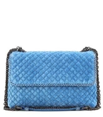 baby quilted bag shoulder bag velvet blue
