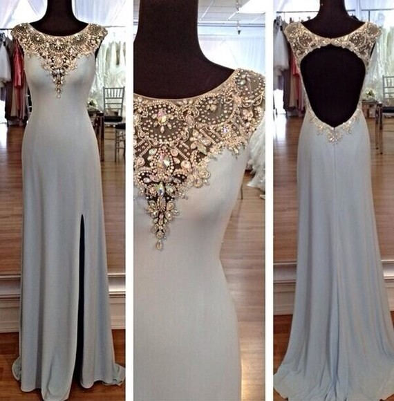 dress long prom dress slit prom dress long prom dresses sexy blue backless prom dresses backless dress crystals sequins sleeveless prom white light hot beauty classy fashion long dress sparkle girls like cute cute dress gold jewelry jewels blue dress jewels