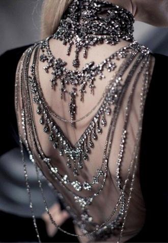 jewels goth diamonds backless dress choker necklace grunge grunge jewelry rock punk jewelry steampunk