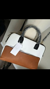 bag,zara,bowling bag,brown,black,white,handbag