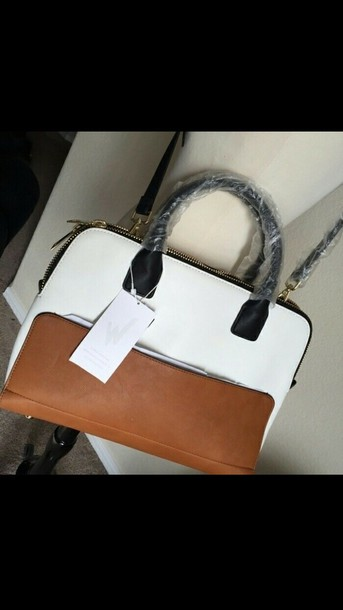 bag zara bowling bag brown black white handbag