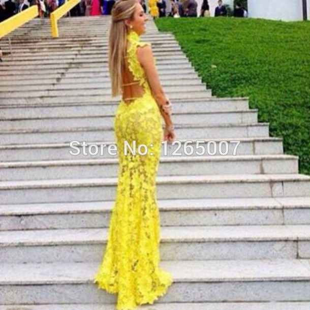 Aliexpress.com : Buy Elegant High Neck Cap Sleeves Natural Waist Lace See Through Yellow New Fashion Formal Open Back Long Special Occasion Dress from Reliable cap sleeve lace dress suppliers on SFBridal