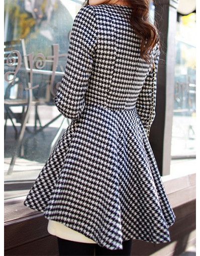 Peplum irregular detail long jacket coat striped grey