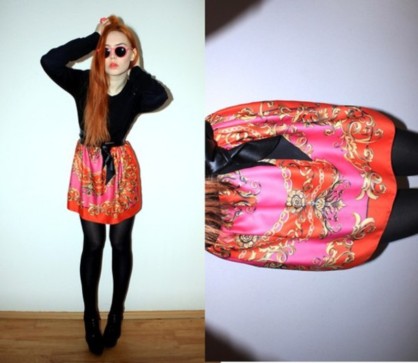 skirt silk scarf print