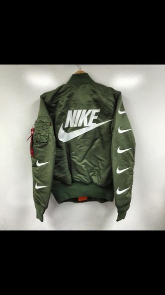 jacket army green nike