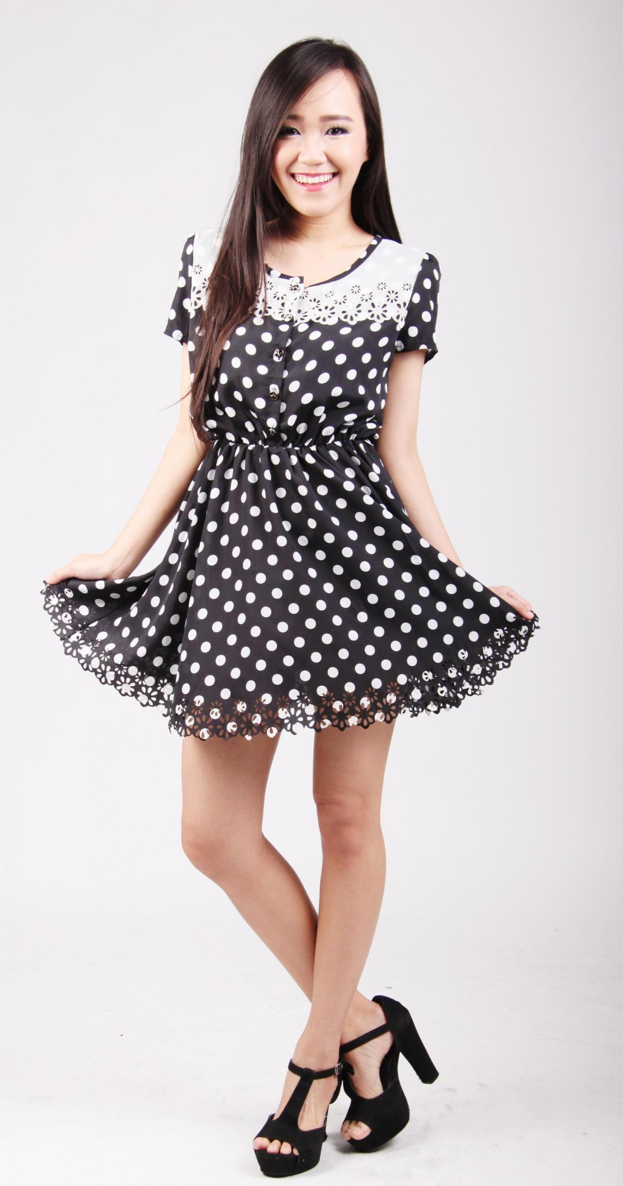 Althea Cut-out Polka Dots Dress on Luulla