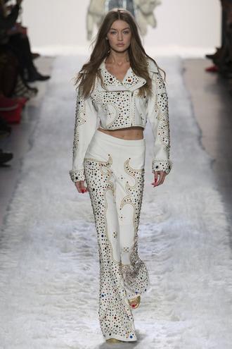 jacket jeremy scott pants gigi hadid model ny fashion week 2017 fashion week 2017 runway flare pants nyfw 2017