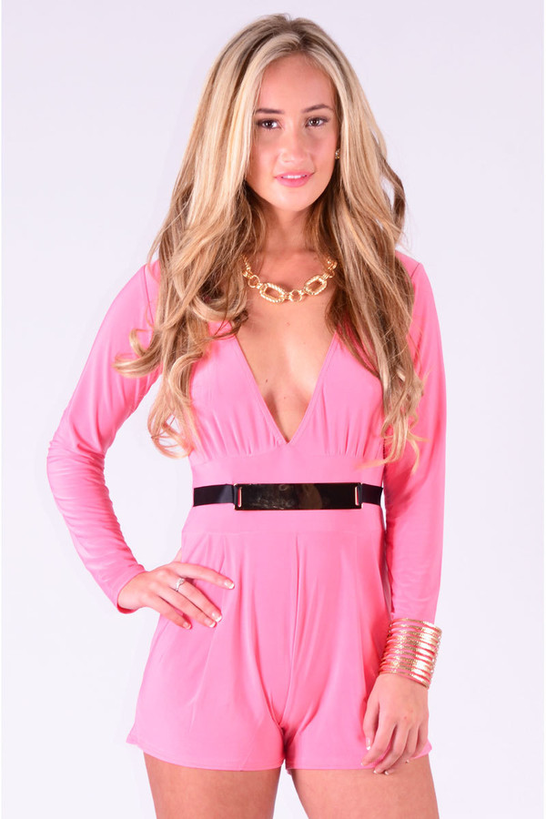 Ladies Jarvis Plunge Style Belted Playsuit In Coral at Pop ...