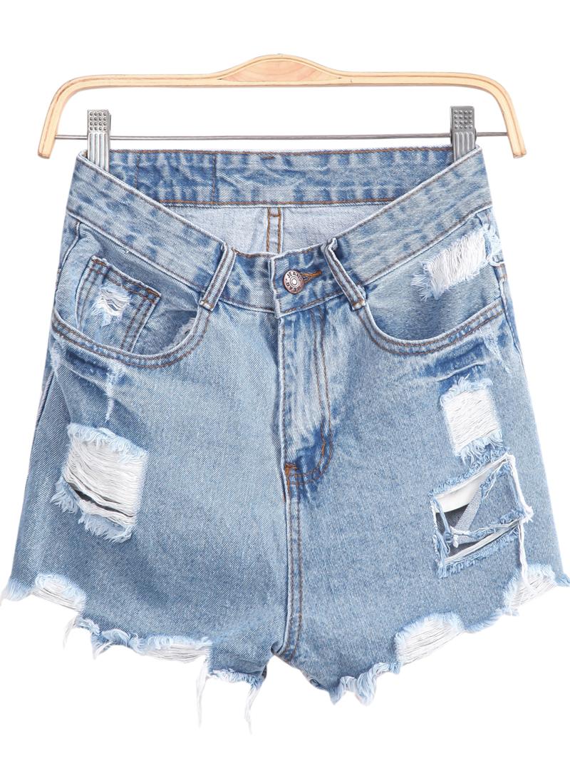 Blue Pockets Fringe Denim Shorts - Sheinside.com