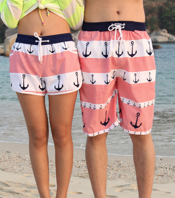 shorts anchor anchors beach swimwear anchor shorts beach shorts swim shorts pants pink summer hot pants stripes matching set couple pattern peach navy cute nautical couple swimwear matching couples matching shorts indie tunblr tumblr hipster matching couples anchor swim shorts sailor matching couples boy girl